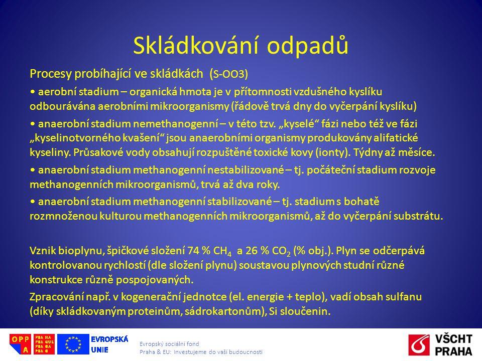 Evropský sociální fond Praha & EU: Investujeme do vaší budoucnosti Skládkování odpadů Procesy probíhající ve skládkách ( S-OO3) • aerobní stadium – or