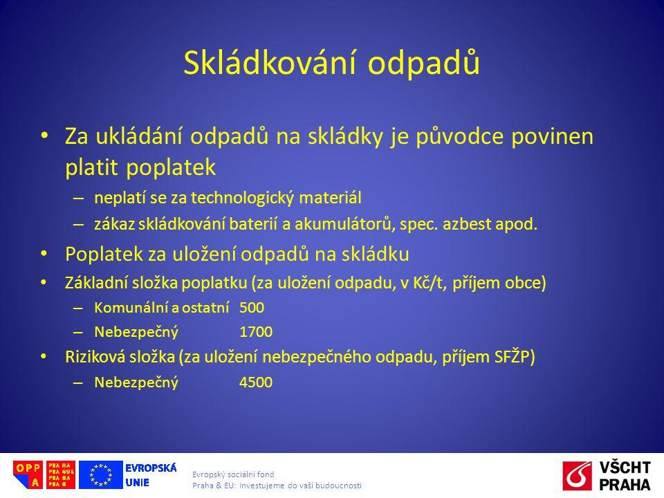 Evropský sociální fond Praha & EU: Investujeme do vaší budoucnosti Skládkování odpadů • Za ukládání odpadů na skládky je původce povinen platit poplatek – neplatí se za technologický materiál – zákaz skládkování baterií a akumulátorů, spec.