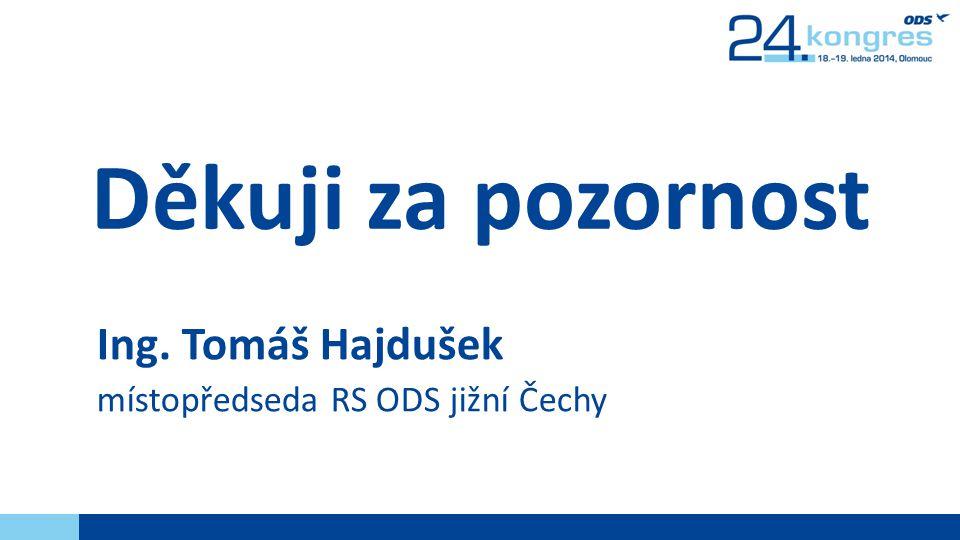 Děkuji za pozornost Ing. Tomáš Hajdušek místopředseda RS ODS jižní Čechy