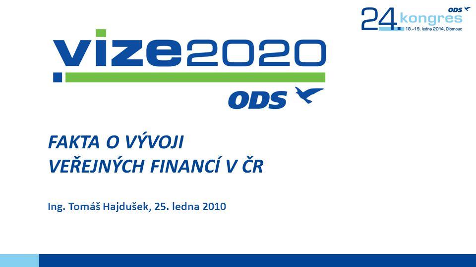FAKTA O VÝVOJI VEŘEJNÝCH FINANCÍ V ČR Ing. Tomáš Hajdušek, 25. ledna 2010