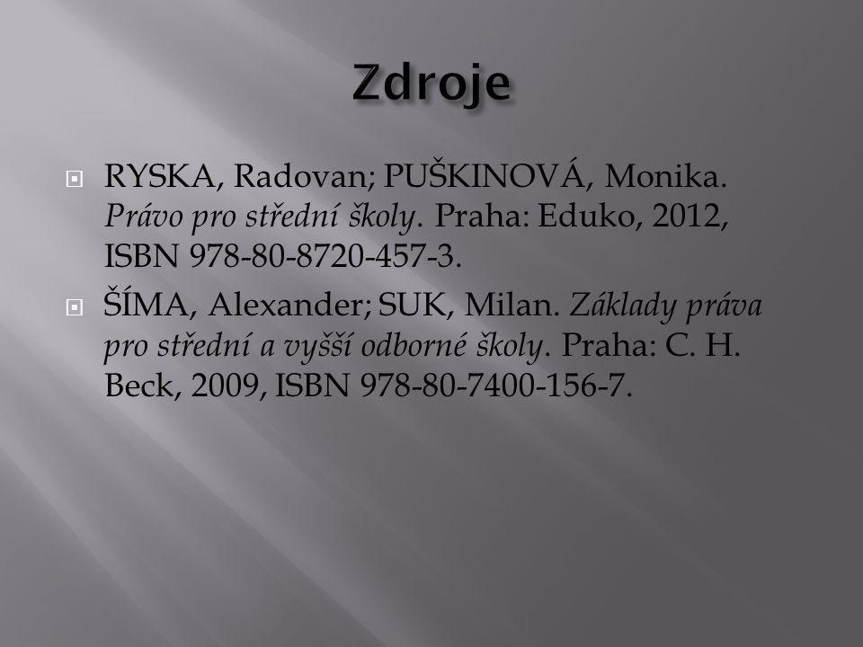  RYSKA, Radovan; PUŠKINOVÁ, Monika.Právo pro střední školy.