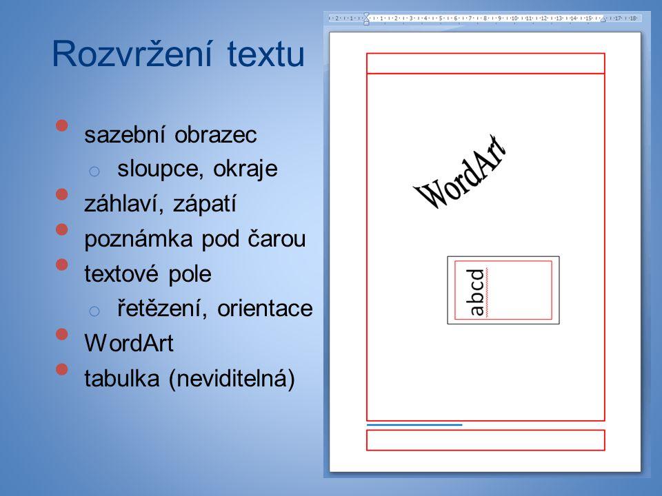 Rozvržení textu • sazební obrazec o sloupce, okraje • záhlaví, zápatí • poznámka pod čarou • textové pole o řetězení, orientace • WordArt • tabulka (n