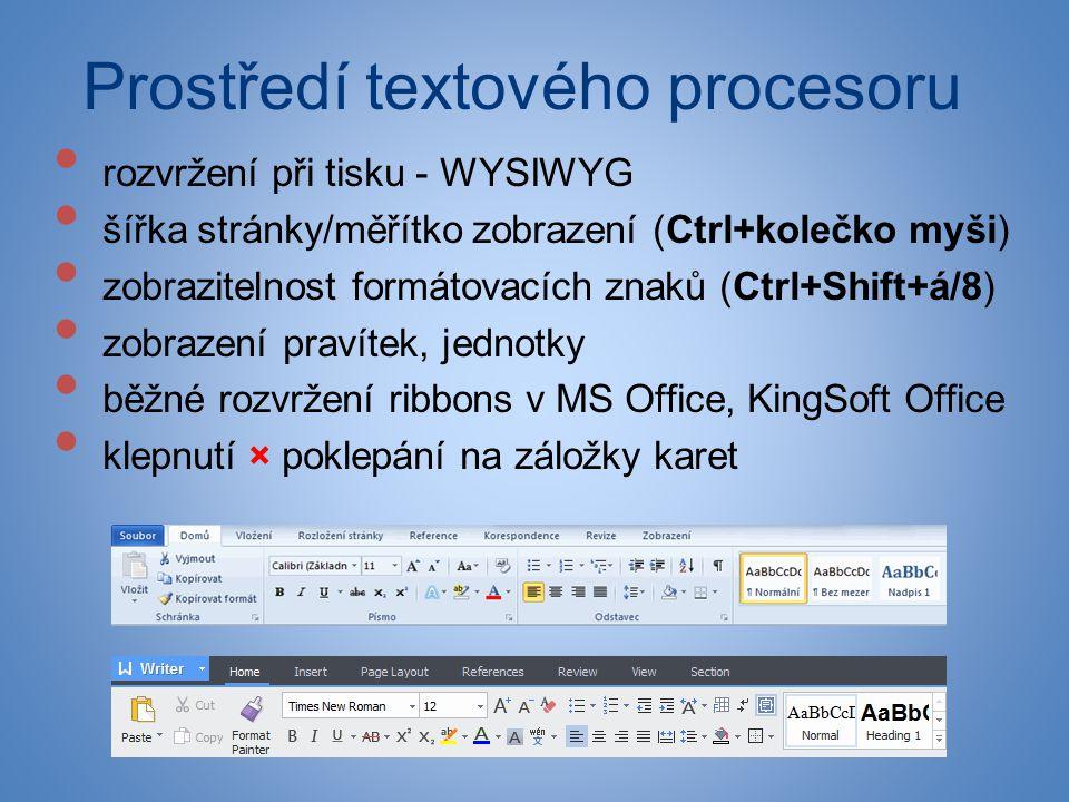 Prostředí textového procesoru • rozvržení při tisku - WYSIWYG • šířka stránky/měřítko zobrazení (Ctrl+kolečko myši) • zobrazitelnost formátovacích zna