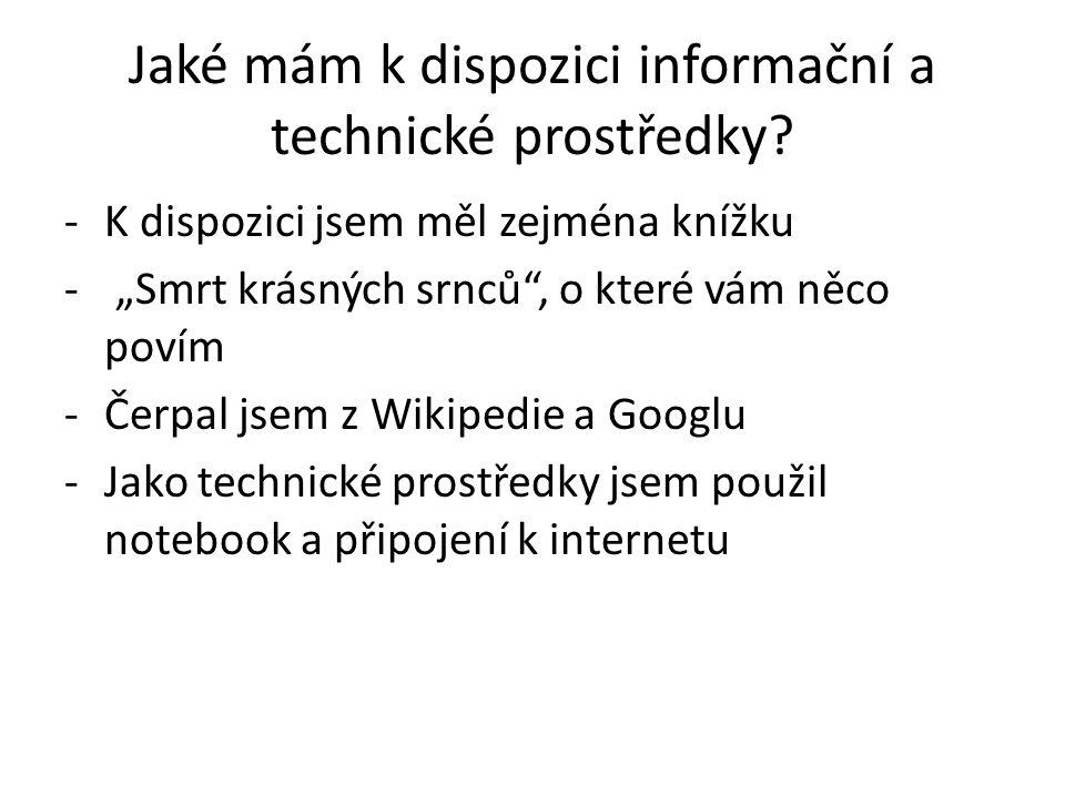 Jaké mám k dispozici informační a technické prostředky.
