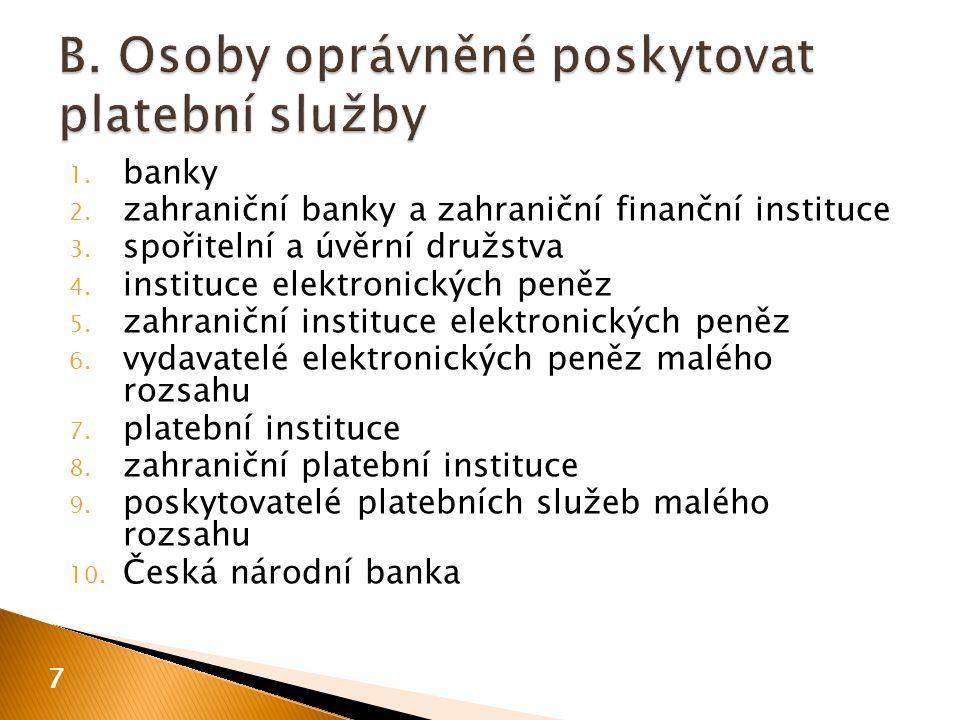 1. banky 2. zahraniční banky a zahraniční finanční instituce 3.