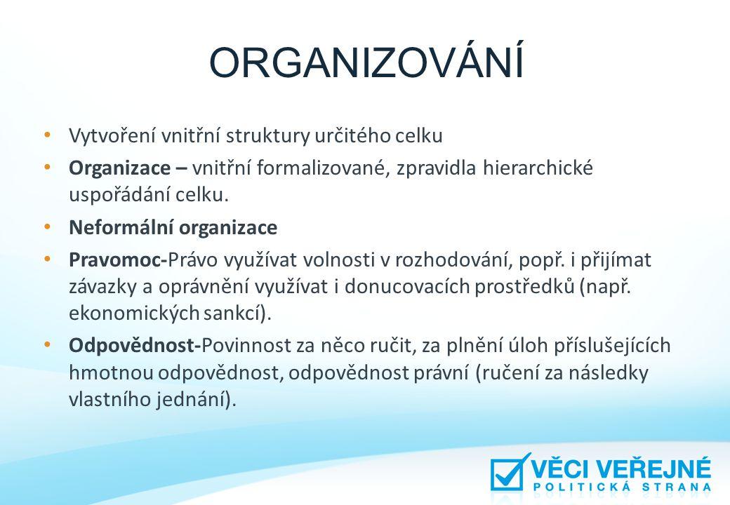 ORGANIZOVÁNÍ • Vytvoření vnitřní struktury určitého celku • Organizace – vnitřní formalizované, zpravidla hierarchické uspořádání celku. • Neformální