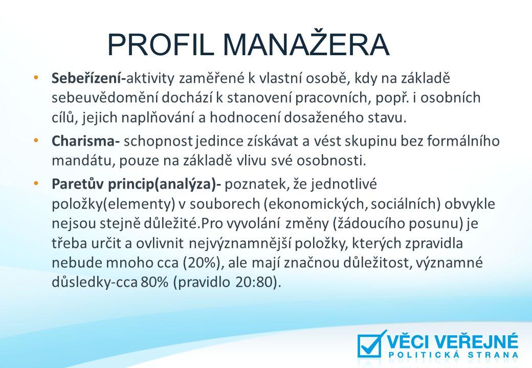 PROFIL MANAŽERA • Sebeřízení-aktivity zaměřené k vlastní osobě, kdy na základě sebeuvědomění dochází k stanovení pracovních, popř. i osobních cílů, je