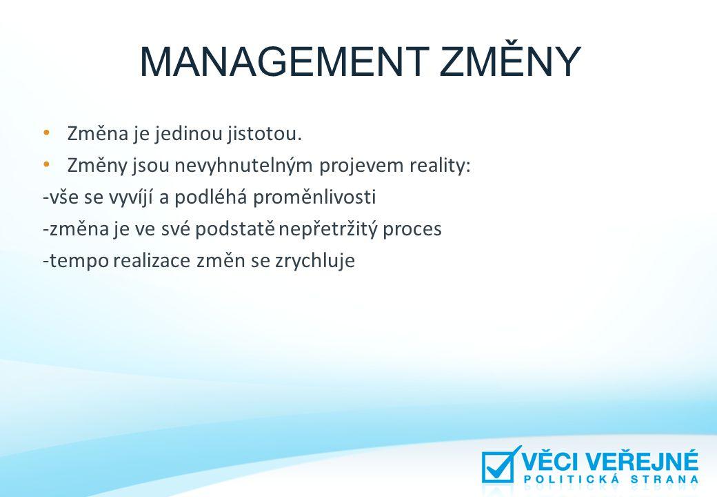 MANAGEMENT ZMĚNY • Změna je jedinou jistotou. • Změny jsou nevyhnutelným projevem reality: -vše se vyvíjí a podléhá proměnlivosti -změna je ve své pod