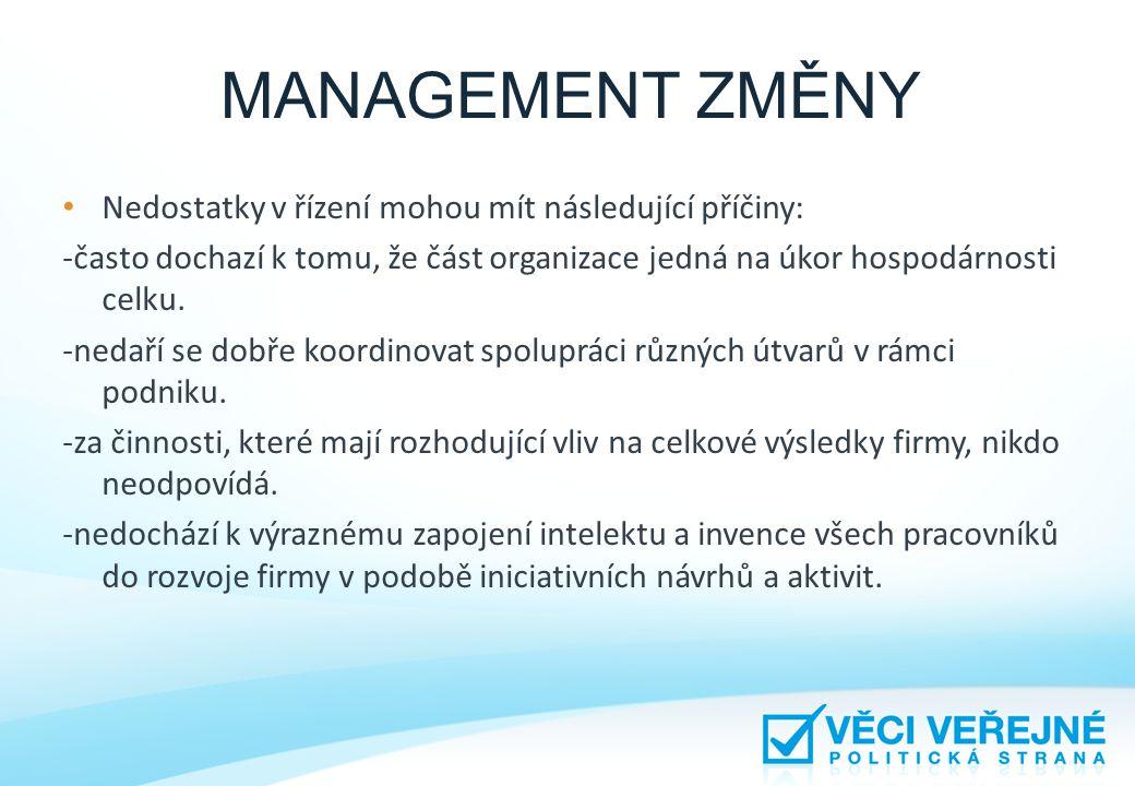 MANAGEMENT ZMĚNY • Nedostatky v řízení mohou mít následující příčiny: -často dochazí k tomu, že část organizace jedná na úkor hospodárnosti celku. -ne