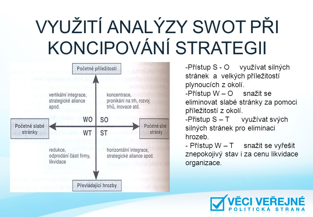 -Přístup S - O využívat silných stránek a velkých příležitostí plynoucích z okolí. -Přístup W – O snažit se eliminovat slabé stránky za pomoci příleži