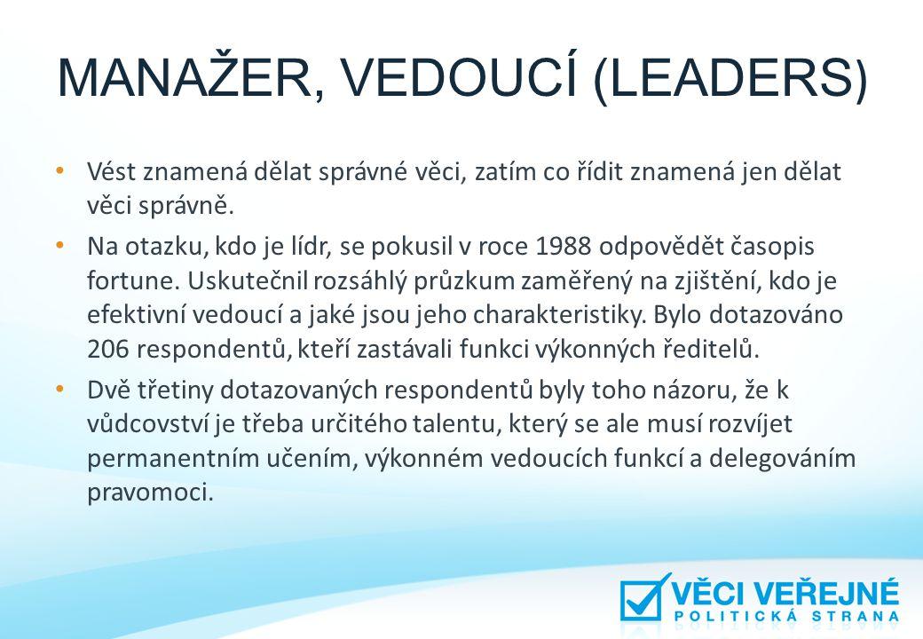 MANAŽER, VEDOUCÍ (LEADERS) • Ve výše jmenovaném časopise bylo uvedeno i sedm charakteristik úspěšného vůdce: 1)Musí důvěřovat svým podřízeným a delegovat jim pravomoc.