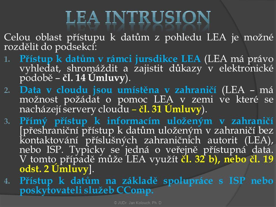Celou oblast přístupu k datům z pohledu LEA je možné rozdělit do podsekcí: 1.
