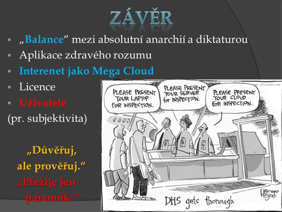 """ """" Balance mezi absolutní anarchií a diktaturou  Aplikace zdravého rozumu  Interenet jako Mega Cloud  Licence  Uživatelé (pr."""