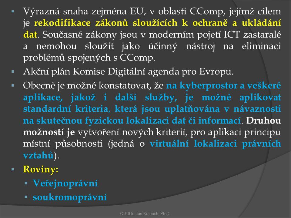  Výrazná snaha zejména EU, v oblasti CComp, jejímž cílem je rekodifikace zákonů sloužících k ochraně a ukládání dat.
