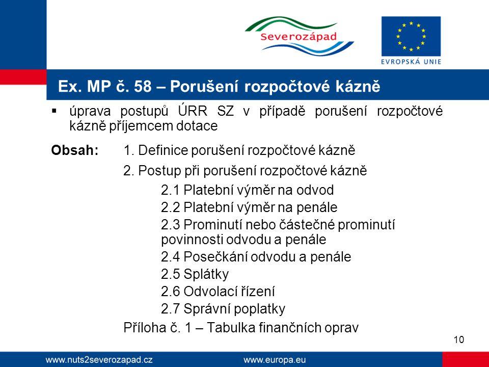 Ex. MP č. 58 – Porušení rozpočtové kázně  úprava postupů ÚRR SZ v případě porušení rozpočtové kázně příjemcem dotace Obsah:1. Definice porušení rozpo