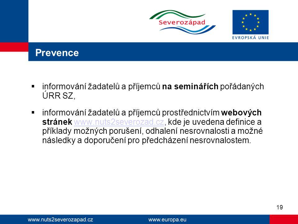 Prevence  informování žadatelů a příjemců na seminářích pořádaných ÚRR SZ,  informování žadatelů a příjemců prostřednictvím webových stránek www.nut