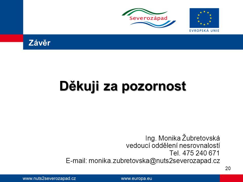 Závěr Děkuji za pozornost Ing. Monika Žubretovská vedoucí oddělení nesrovnalostí Tel. 475 240 671 E-mail: monika.zubretovska@nuts2severozapad.cz 20