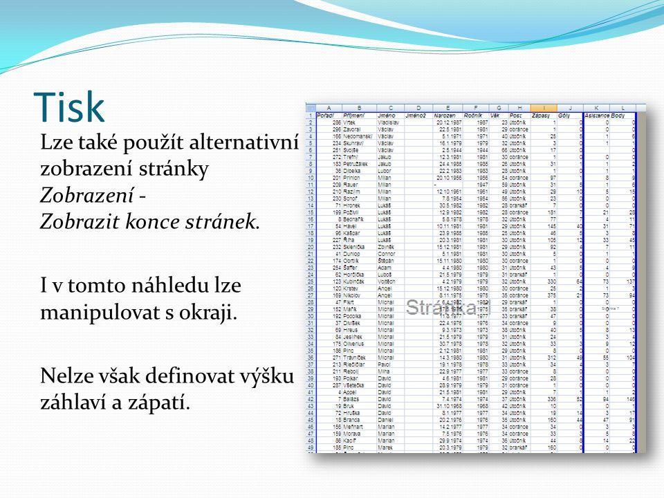 Tisk Lze také použít alternativní zobrazení stránky Zobrazení - Zobrazit konce stránek.