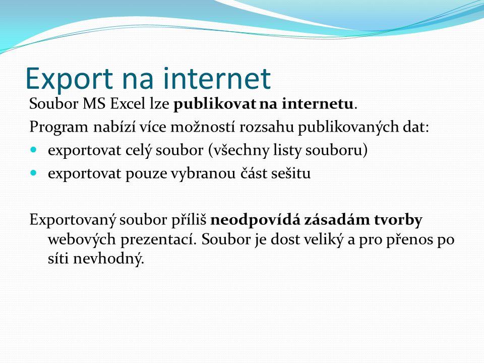 Export na internet Soubor MS Excel lze publikovat na internetu.