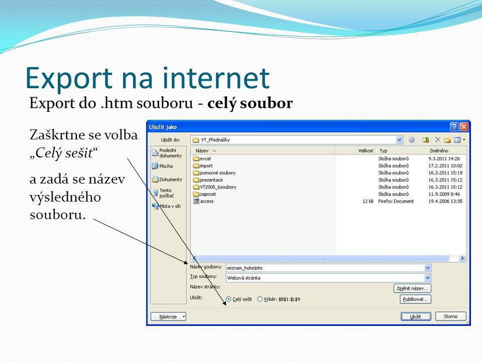 """Export na internet Export do.htm souboru - celý soubor Zaškrtne se volba """"Celý sešit a zadá se název výsledného souboru."""