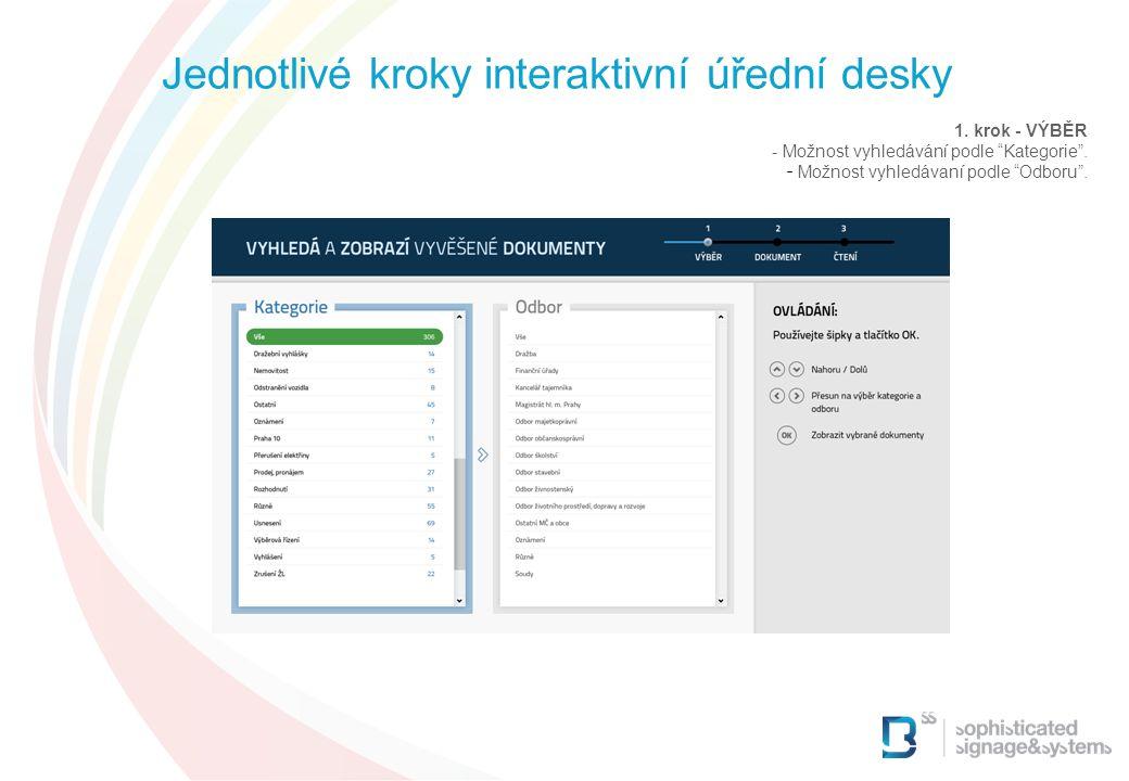 """1. krok - VÝBĚR - Možnost vyhledávání podle """"Kategorie"""". - Možnost vyhledávaní podle """"Odboru"""". Jednotlivé kroky interaktivní úřední desky"""