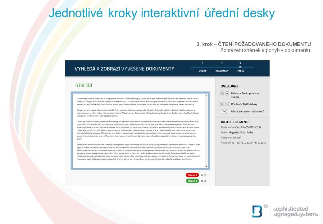 3. krok – ČTENÍ POŽADOVANÉHO DOKUMENTU - Zobrazení stránek a pohyb v dokumentu. Jednotlivé kroky interaktivní úřední desky