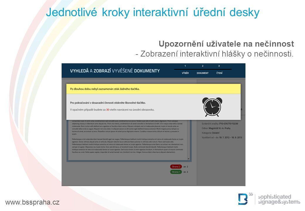 Upozornění uživatele na nečinnost - Zobrazení interaktivní hlášky o nečinnosti. Jednotlivé kroky interaktivní úřední desky www.bsspraha.cz
