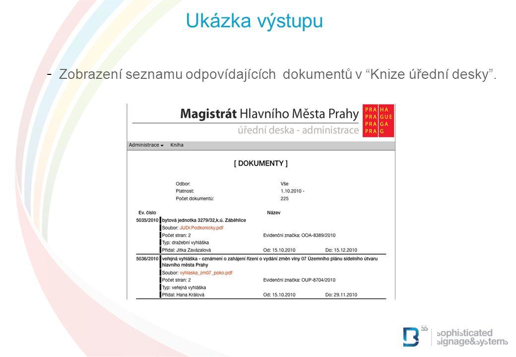 - Zobrazení seznamu odpovídajících dokumentů v Knize úřední desky . Ukázka výstupu