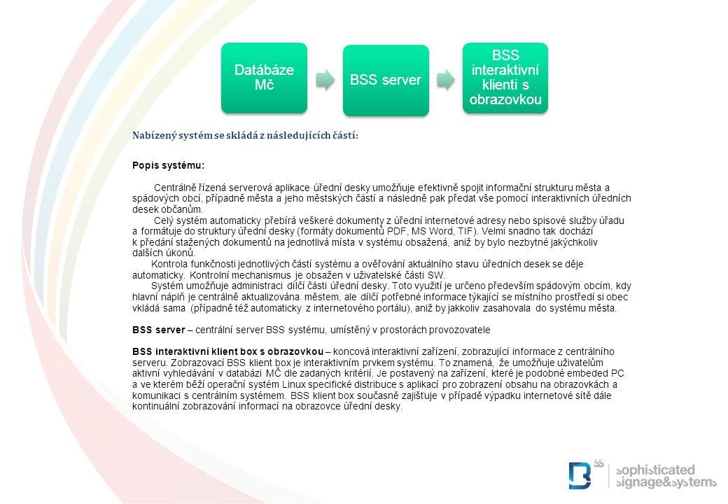 Datábáze Mč BSS server BSS interaktivní klienti s obrazovkou Nabízený systém se skládá z následujících částí: Popis systému: Centrálně řízená serverov