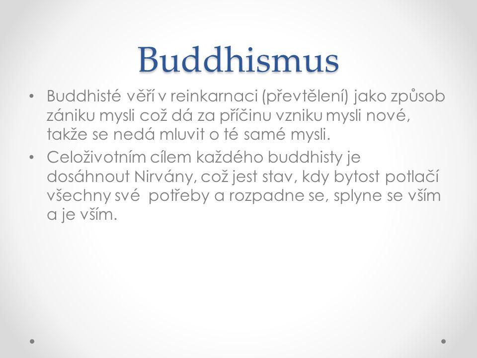 Buddhismus • Buddhisté věří v reinkarnaci (převtělení) jako způsob zániku mysli což dá za příčinu vzniku mysli nové, takže se nedá mluvit o té samé my