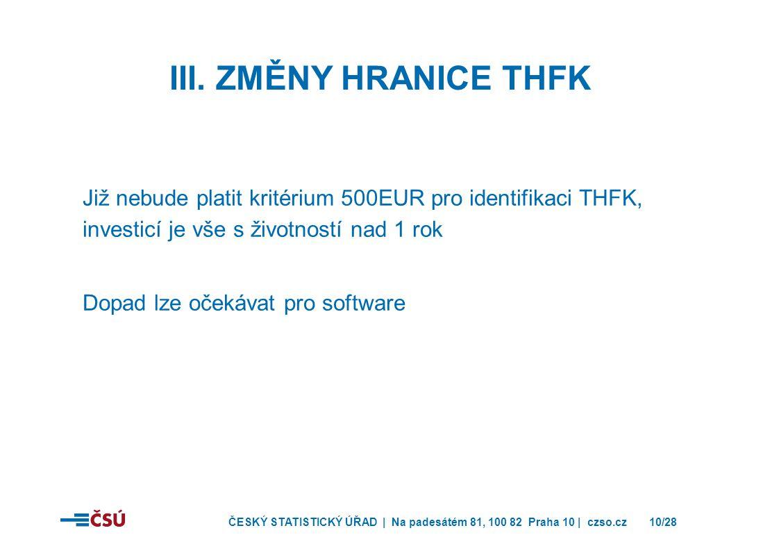 ČESKÝ STATISTICKÝ ÚŘAD | Na padesátém 81, 100 82 Praha 10 | czso.cz10/28 Již nebude platit kritérium 500EUR pro identifikaci THFK, investicí je vše s životností nad 1 rok Dopad lze očekávat pro software III.