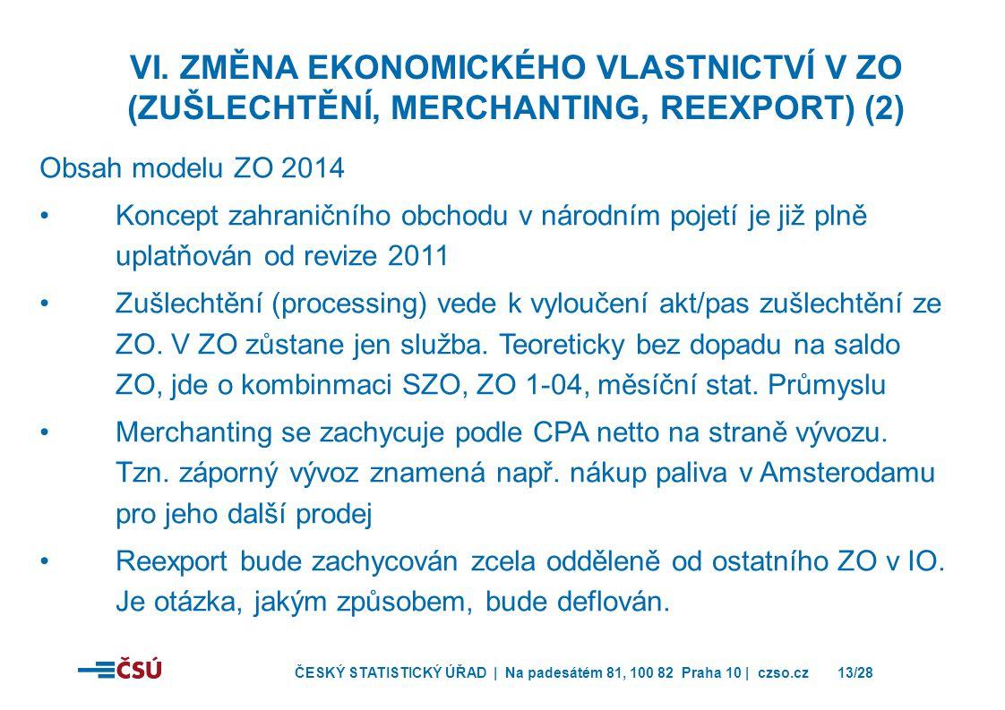 ČESKÝ STATISTICKÝ ÚŘAD | Na padesátém 81, 100 82 Praha 10 | czso.cz13/28 Obsah modelu ZO 2014 •Koncept zahraničního obchodu v národním pojetí je již plně uplatňován od revize 2011 •Zušlechtění (processing) vede k vyloučení akt/pas zušlechtění ze ZO.