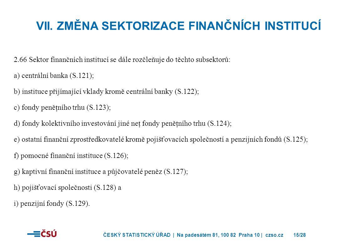 ČESKÝ STATISTICKÝ ÚŘAD | Na padesátém 81, 100 82 Praha 10 | czso.cz15/28 2.66 Sektor finančních institucí se dále rozčleňuje do těchto subsektorů: a) centrální banka (S.121); b) instituce přijímající vklady kromě centrální banky (S.122); c) fondy peněţního trhu (S.123); d) fondy kolektivního investování jiné neţ fondy peněţního trhu (S.124); e) ostatní finanční zprostředkovatelé kromě pojišťovacích společností a penzijních fondů (S.125); f) pomocné finanční instituce (S.126); g) kaptivní finanční instituce a půjčovatelé peněz (S.127); h) pojišťovací společnosti (S.128) a i) penzijní fondy (S.129).