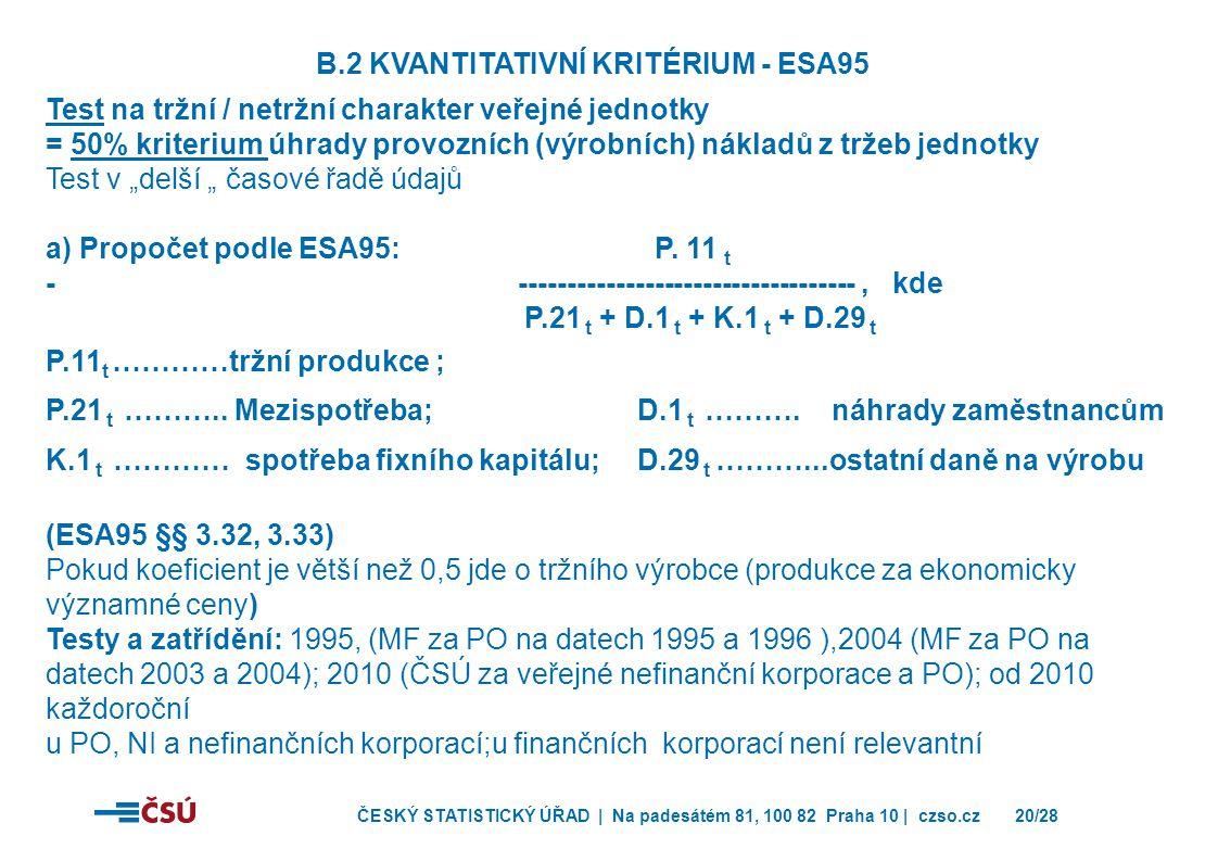 ČESKÝ STATISTICKÝ ÚŘAD | Na padesátém 81, 100 82 Praha 10 | czso.cz20/28 B.2 KVANTITATIVNÍ KRITÉRIUM - ESA95 Test na tržní / netržní charakter veřejné
