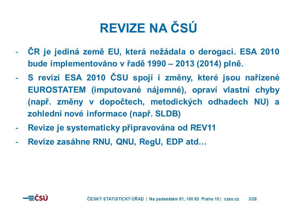 ČESKÝ STATISTICKÝ ÚŘAD | Na padesátém 81, 100 82 Praha 10 | czso.cz3/28 REVIZE NA ČSÚ -ČR je jediná země EU, která nežádala o derogaci. ESA 2010 bude