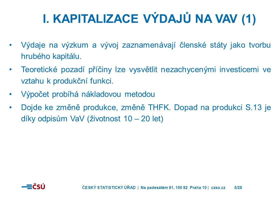 ČESKÝ STATISTICKÝ ÚŘAD | Na padesátém 81, 100 82 Praha 10 | czso.cz5/28 I. KAPITALIZACE VÝDAJŮ NA VAV (1) •Výdaje na výzkum a vývoj zaznamenávají člen