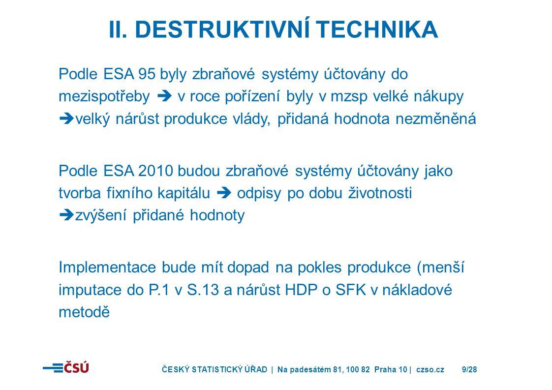 ČESKÝ STATISTICKÝ ÚŘAD | Na padesátém 81, 100 82 Praha 10 | czso.cz9/28 Podle ESA 95 byly zbraňové systémy účtovány do mezispotřeby  v roce pořízení byly v mzsp velké nákupy  velký nárůst produkce vlády, přidaná hodnota nezměněná Podle ESA 2010 budou zbraňové systémy účtovány jako tvorba fixního kapitálu  odpisy po dobu životnosti  zvýšení přidané hodnoty Implementace bude mít dopad na pokles produkce (menší imputace do P.1 v S.13 a nárůst HDP o SFK v nákladové metodě II.