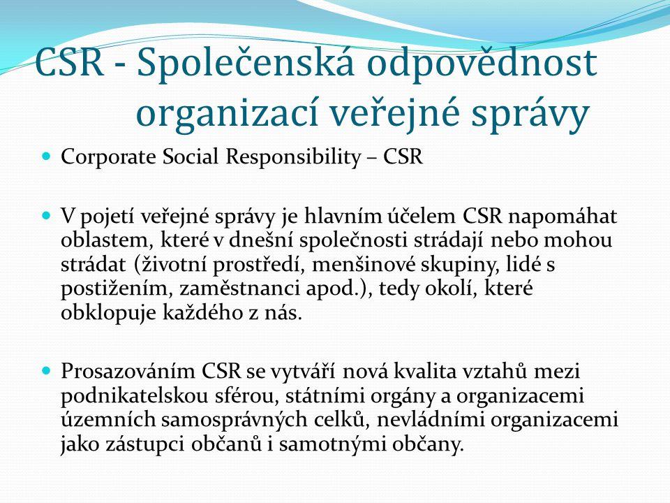 CSR - Společenská odpovědnost organizací veřejné správy  Corporate Social Responsibility – CSR  V pojetí veřejné správy je hlavním účelem CSR napomá