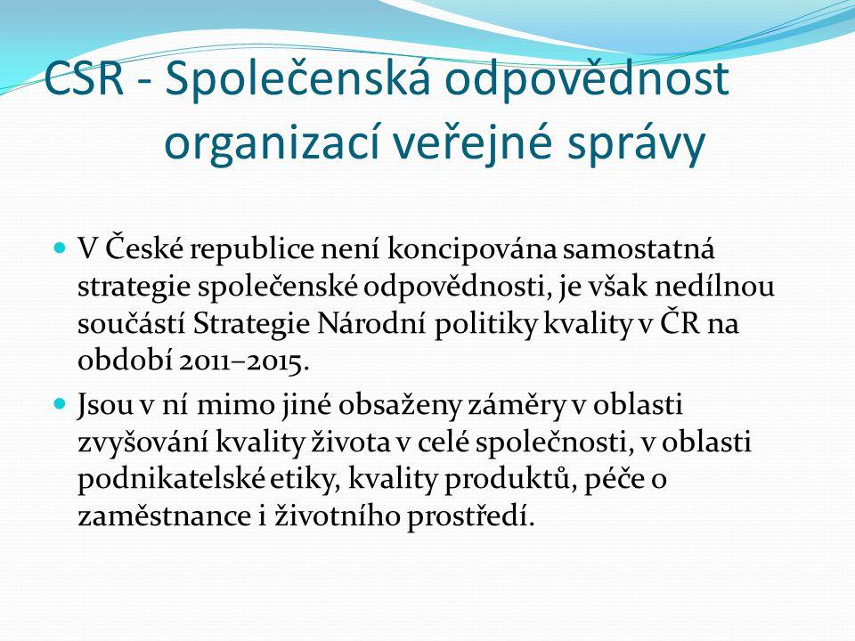 CSR - Společenská odpovědnost organizací veřejné správy  V České republice není koncipována samostatná strategie společenské odpovědnosti, je však ne