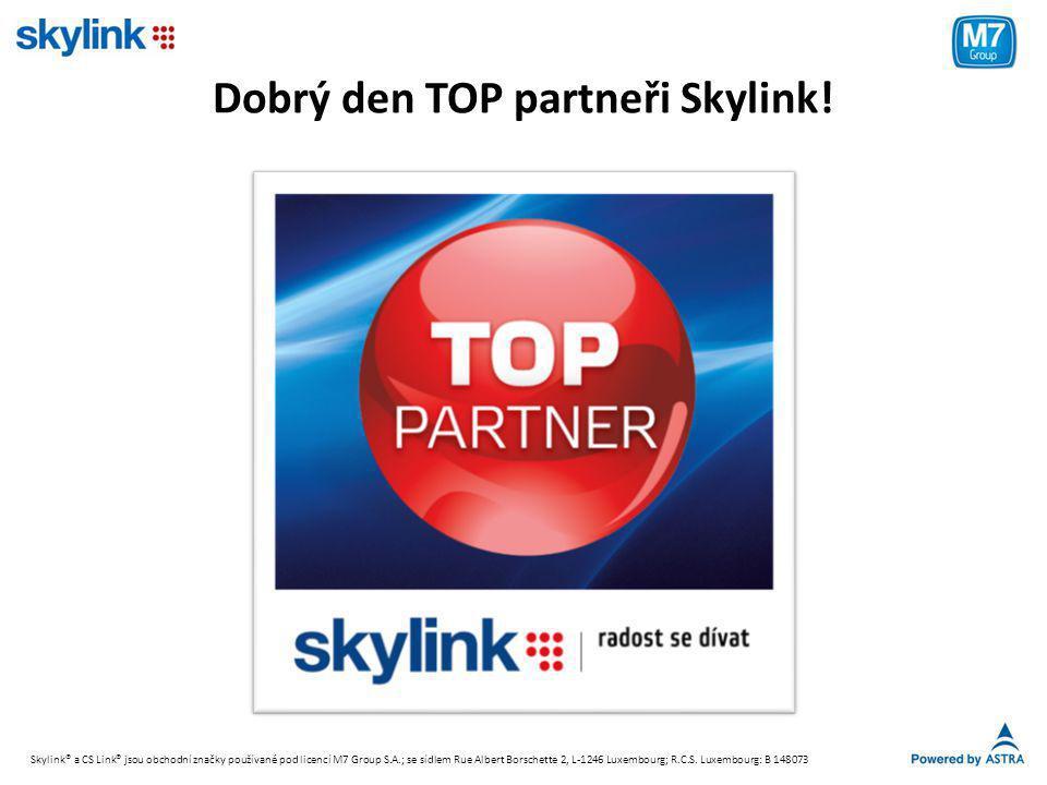 Pohled prodejního partnera • Objednávání přijímačů od dovozce/distributora (minimálně 10 ks) • Pro přijímače určené pro prodej v balíčku domluveny následující velkoobchodní ceny (bez DPH): • Dotace Skylink při prodeji balíčku s přijímačem: - zpětný bonus (přes distributora) = 700 Kč - provize (přes AW) = 1 100 Kč • Standardní provize za 3-měsíční předplatné balíčku placené TV • Příležitost získat další provizi (platba za plac.