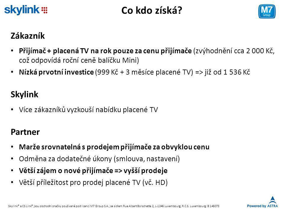 Co kdo získá? Zákazník • Přijímač + placená TV na rok pouze za cenu přijímače (zvýhodnění cca 2 000 Kč, což odpovídá roční ceně balíčku Mini) • Nízká