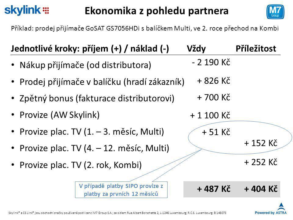 Ekonomika z pohledu partnera Příklad: prodej přijímače GoSAT GS7056HDi s balíčkem Multi, ve 2. roce přechod na Kombi Jednotlivé kroky: příjem (+) / ná