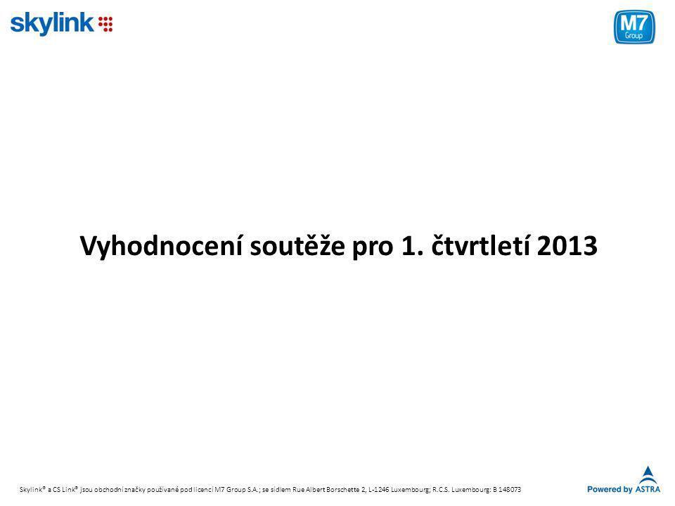 Vyhodnocení soutěže pro 1. čtvrtletí 2013 Skylink® a CS Link® jsou obchodní značky používané pod licencí M7 Group S.A.; se sídlem Rue Albert Borschett