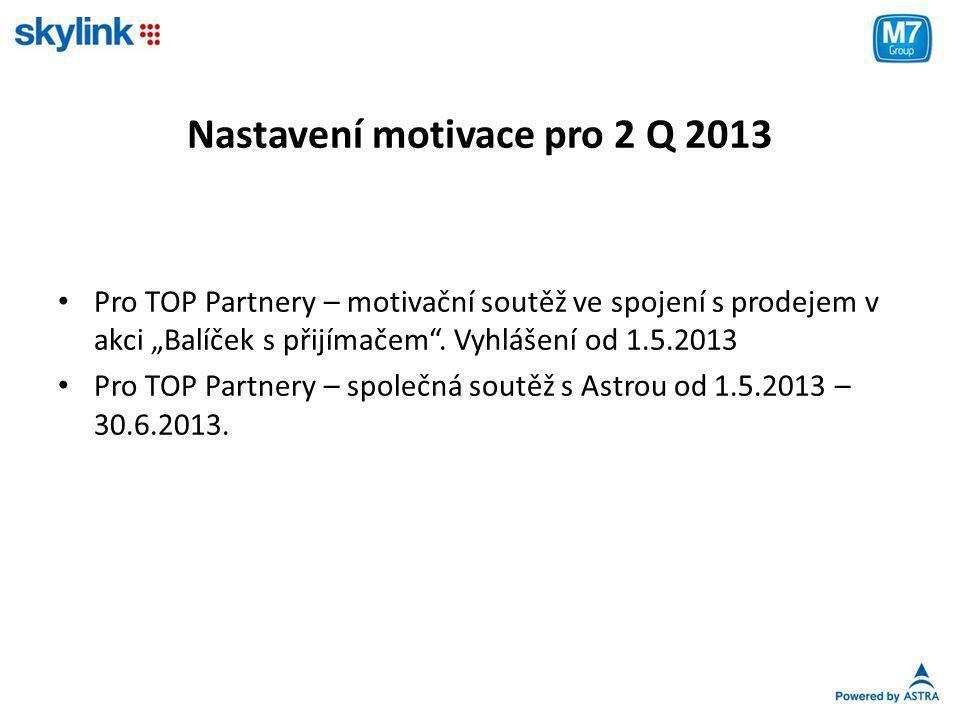 """Nastavení motivace pro 2 Q 2013 • Pro TOP Partnery – motivační soutěž ve spojení s prodejem v akci """"Balíček s přijímačem"""". Vyhlášení od 1.5.2013 • Pro"""