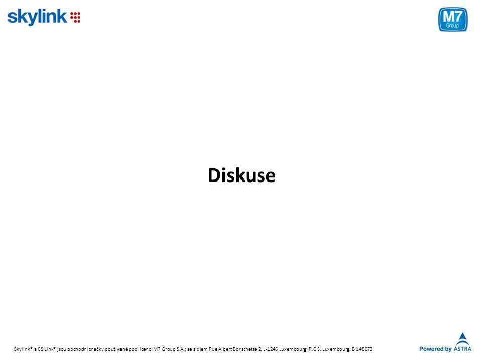 Diskuse Skylink® a CS Link® jsou obchodní značky používané pod licencí M7 Group S.A.; se sídlem Rue Albert Borschette 2, L-1246 Luxembourg; R.C.S. Lux