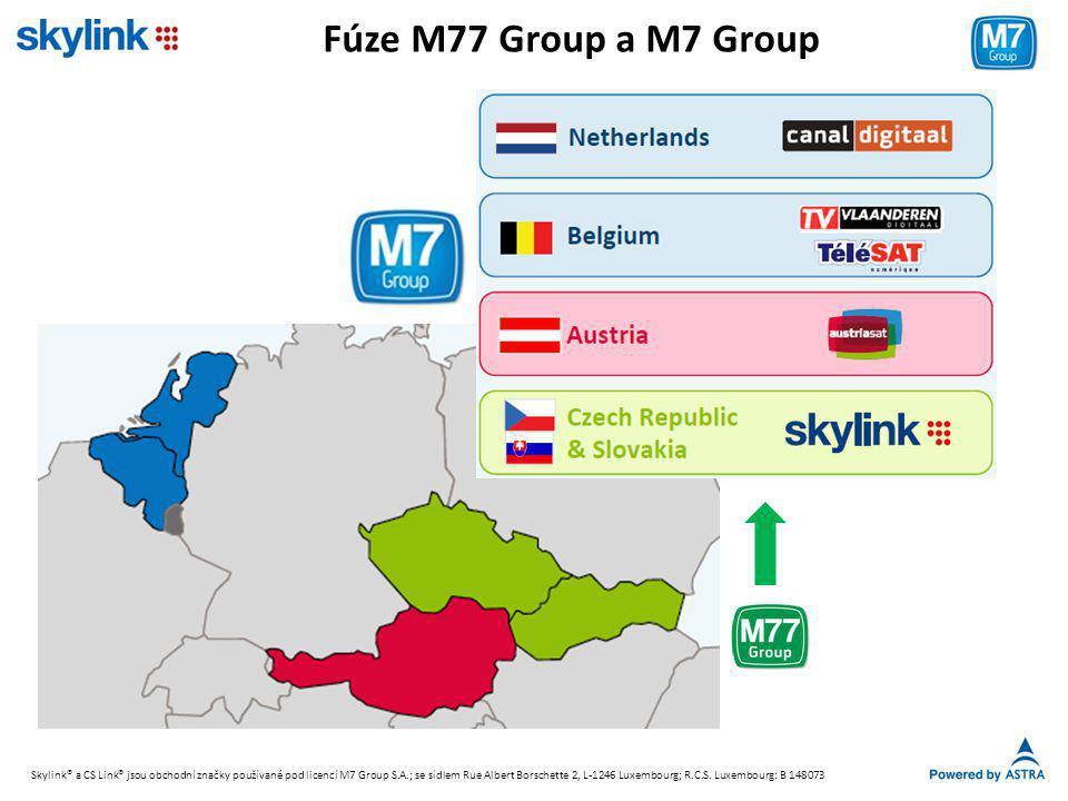 Fúze M77 Group a M7 Group Skylink® a CS Link® jsou obchodní značky používané pod licencí M7 Group S.A.; se sídlem Rue Albert Borschette 2, L-1246 Luxembourg; R.C.S.