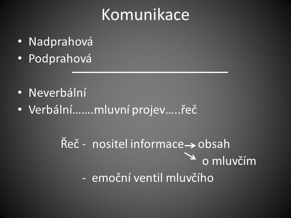 Komunikace • Nadprahová • Podprahová • Neverbální • Verbální…….mluvní projev…..řeč Řeč - nositel informace obsah o mluvčím - emoční ventil mluvčího