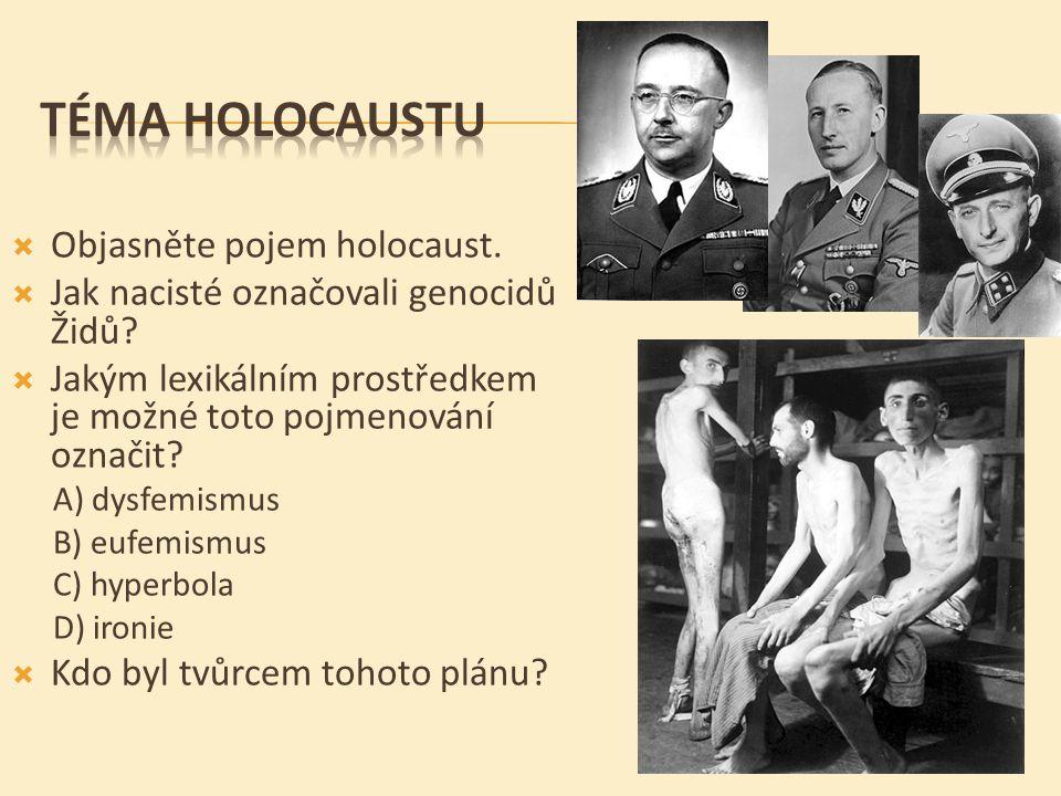  Objasněte pojem holocaust. Jak nacisté označovali genocidů Židů.