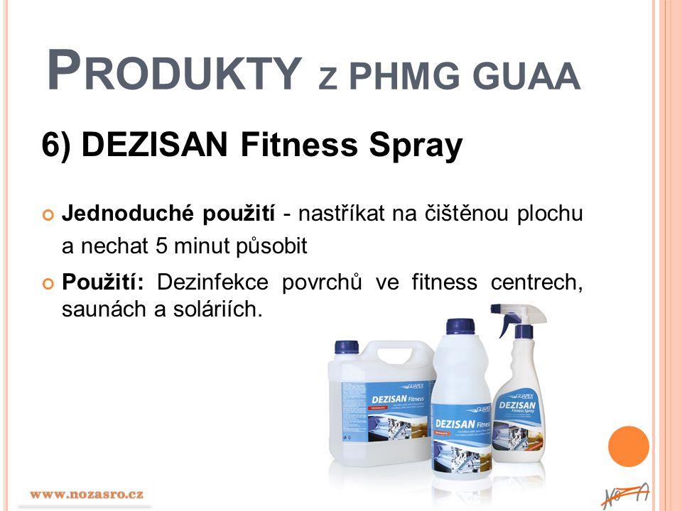 P RODUKTY Z PHMG GUAA 6) DEZISAN Fitness Spray Jednoduché použití - nastříkat na čištěnou plochu a nechat 5 minut působit Použití: Dezinfekce povrchů