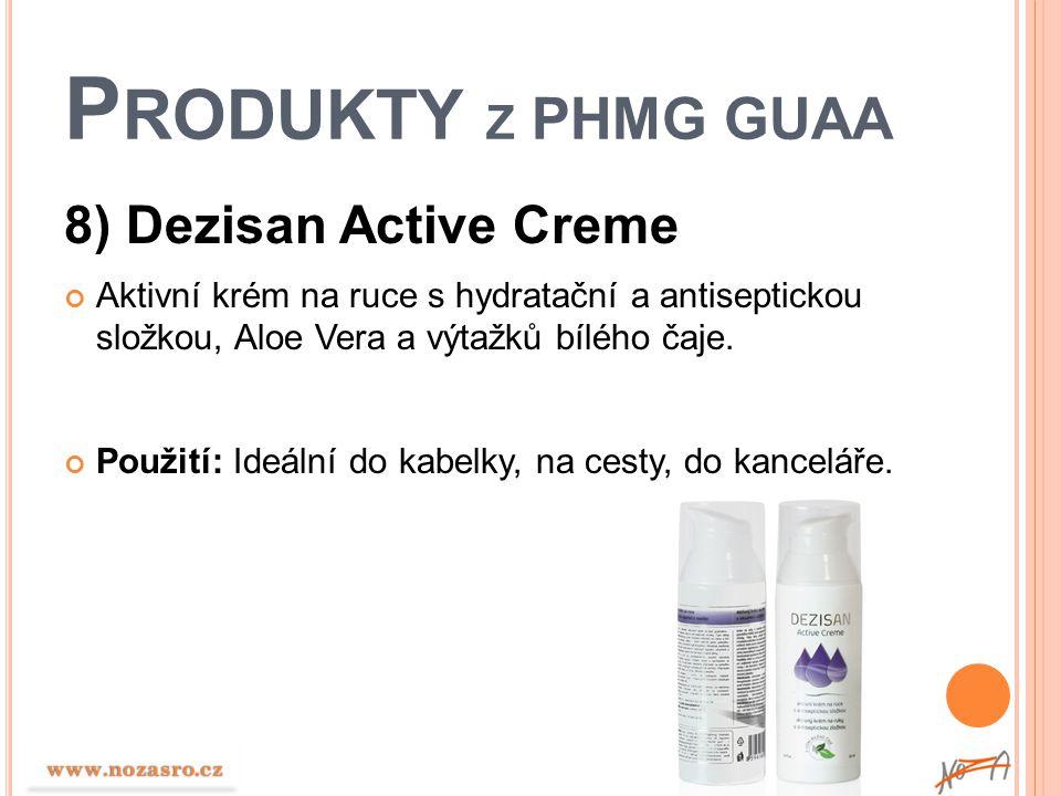 P RODUKTY Z PHMG GUAA 8) Dezisan Active Creme Aktivní krém na ruce s hydratační a antiseptickou složkou, Aloe Vera a výtažků bílého čaje. Použití: Ide